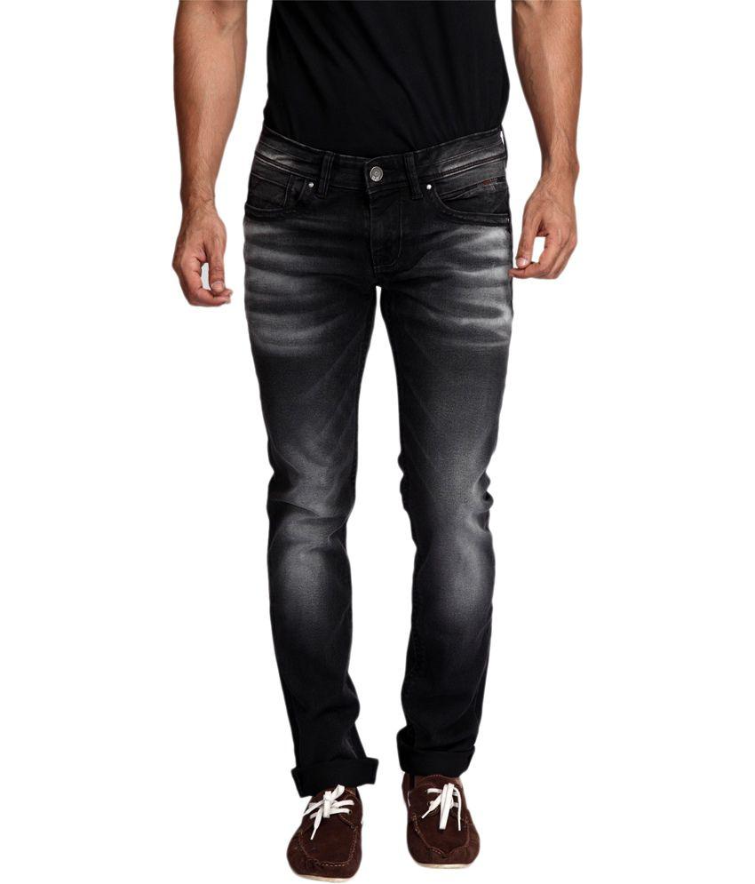Rookies Black Cotton Blend Slim Fit Jeans