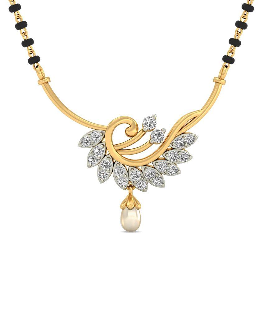 WearYourShine PC Jeweller 18KT Gold The Aurora Diamond & Pearl Mangalsutra