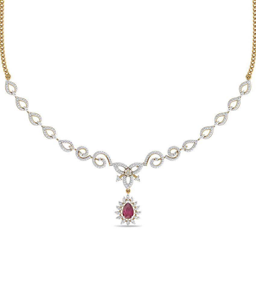 WearYourShine PC Jeweller 18KT Gold The Meskie Diamond & Gemstone Necklace