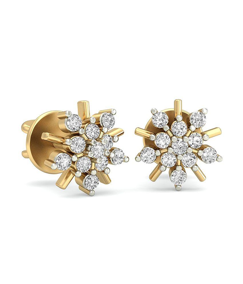 WearYourShine PC Jeweller 18KT Gold The Zareen Diamond Earrings