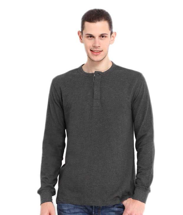 Wintex Henley Dark Grey Cotton T-shirt