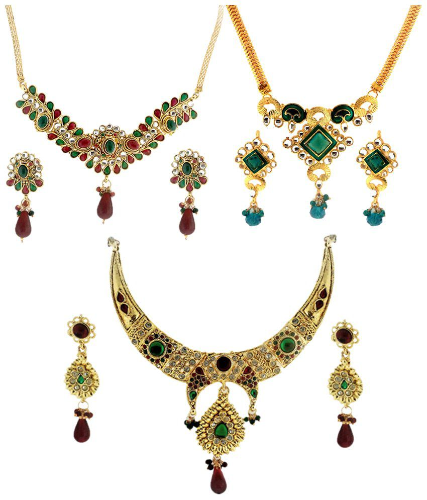Dg Jewels Colourful Wedding & Engagement Combo Of 3 Necklace Sets