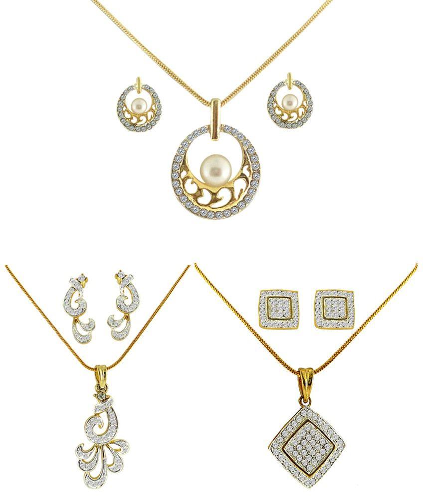 Dg Jewels Stunning Collection of 3 Pendant Sets -DGPSCombo003