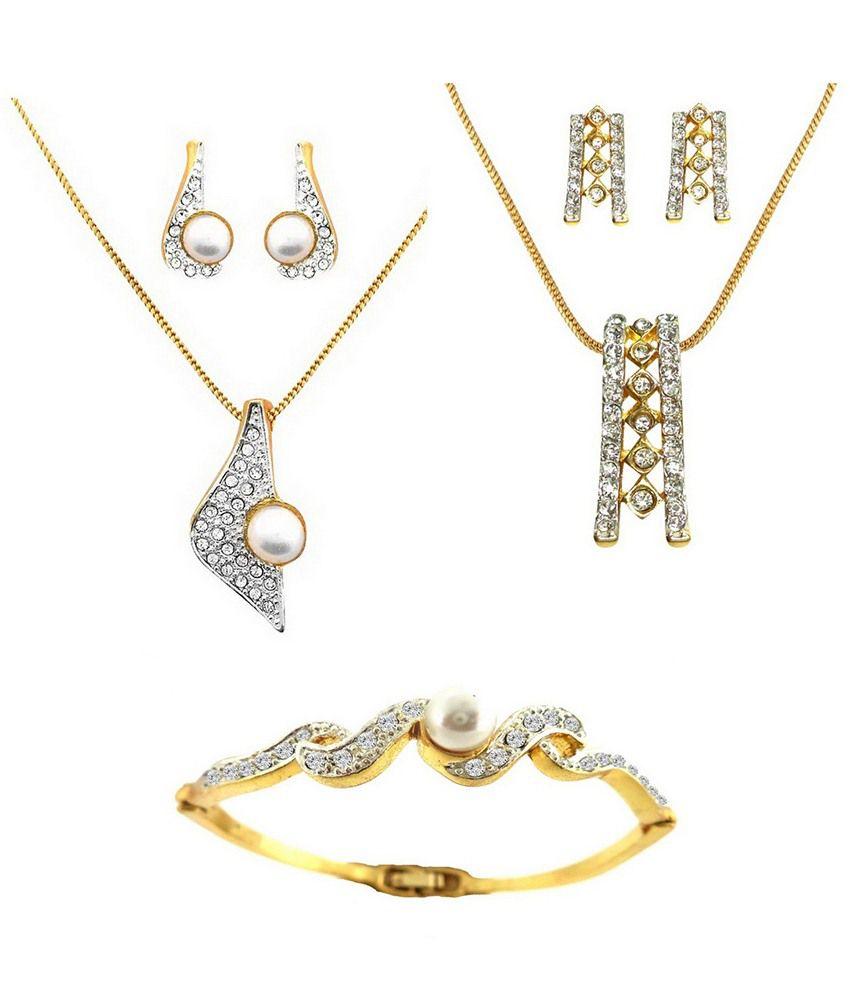 Dg Jewels Dual Tone Plating Combo Of 2 Pendant Sets & Bracelet