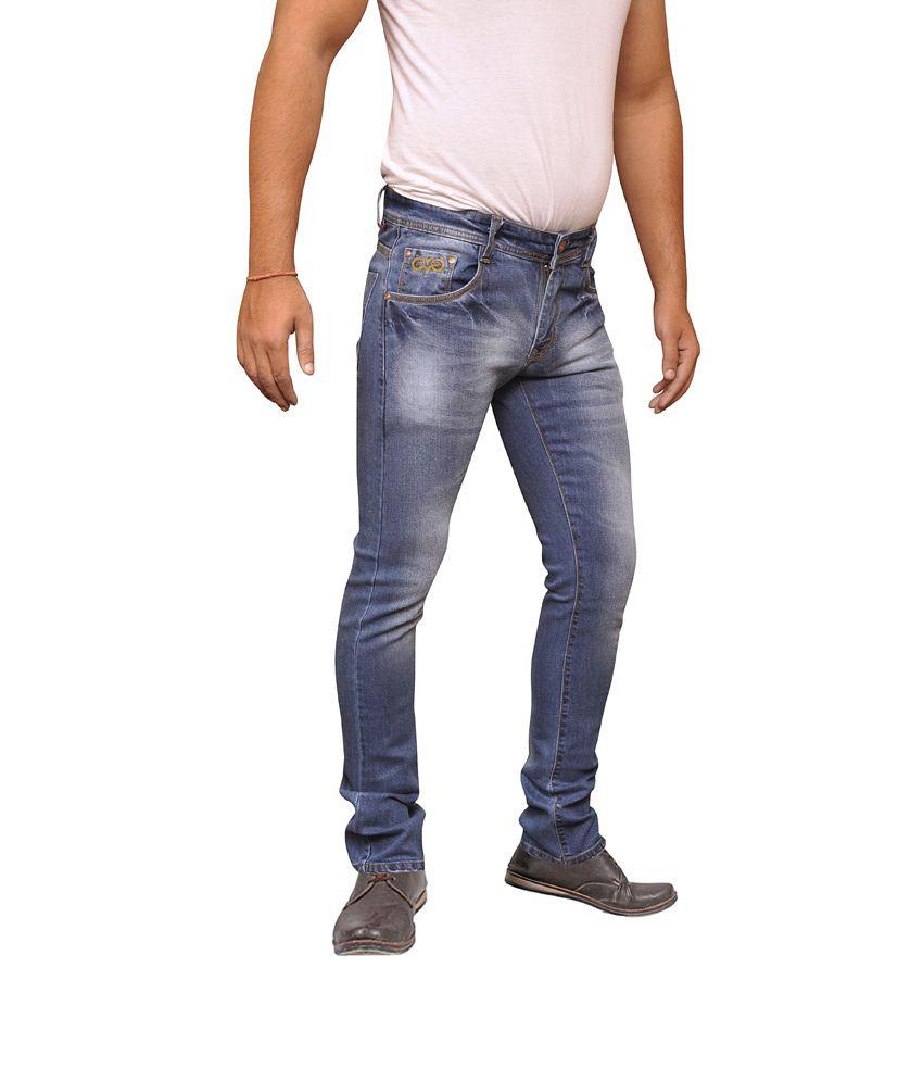 Valueshopindia Blue Cotton Faded Regular Men's Jeans