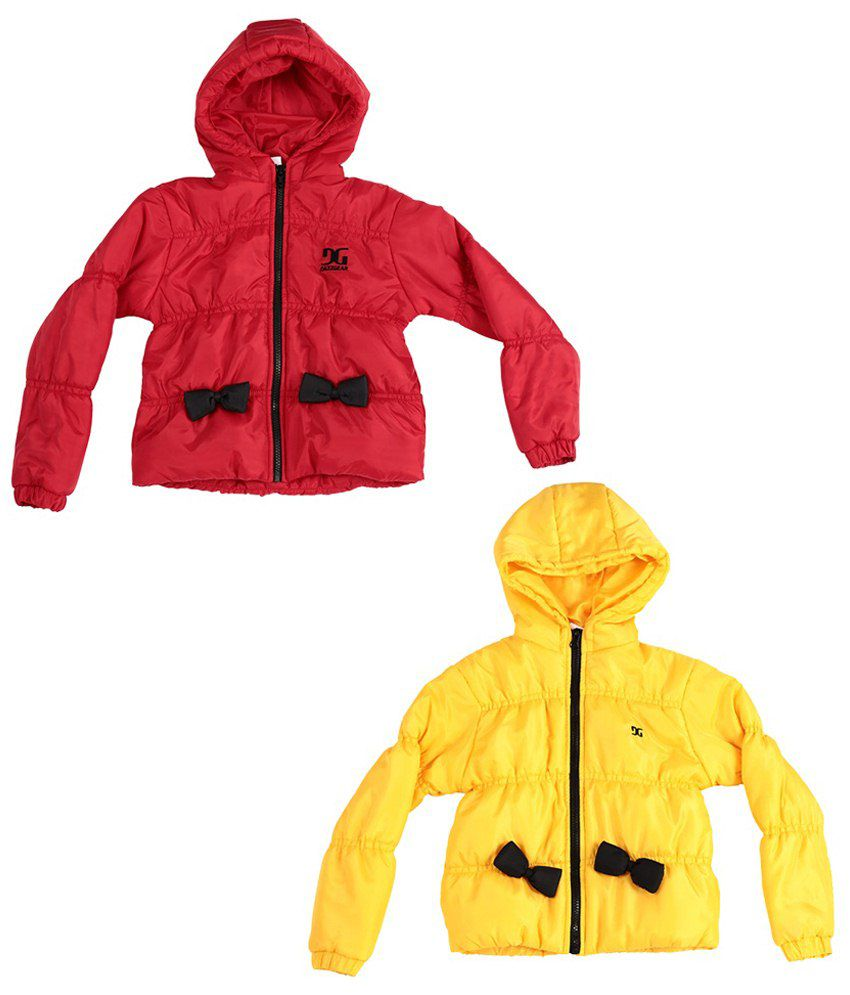 Dazzgear Red & Yellow Full Sleeves Jacket Set Of 2 For Girls