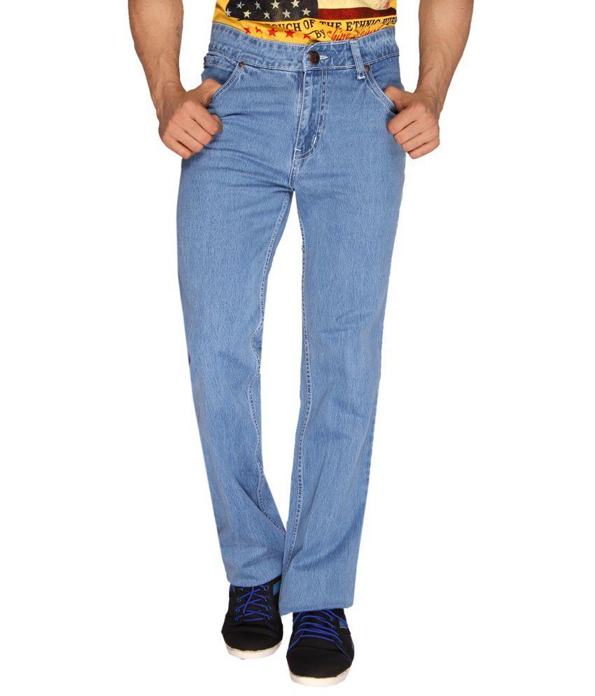 Sl Play Blue Cotton Regular Fit Men's Jeans