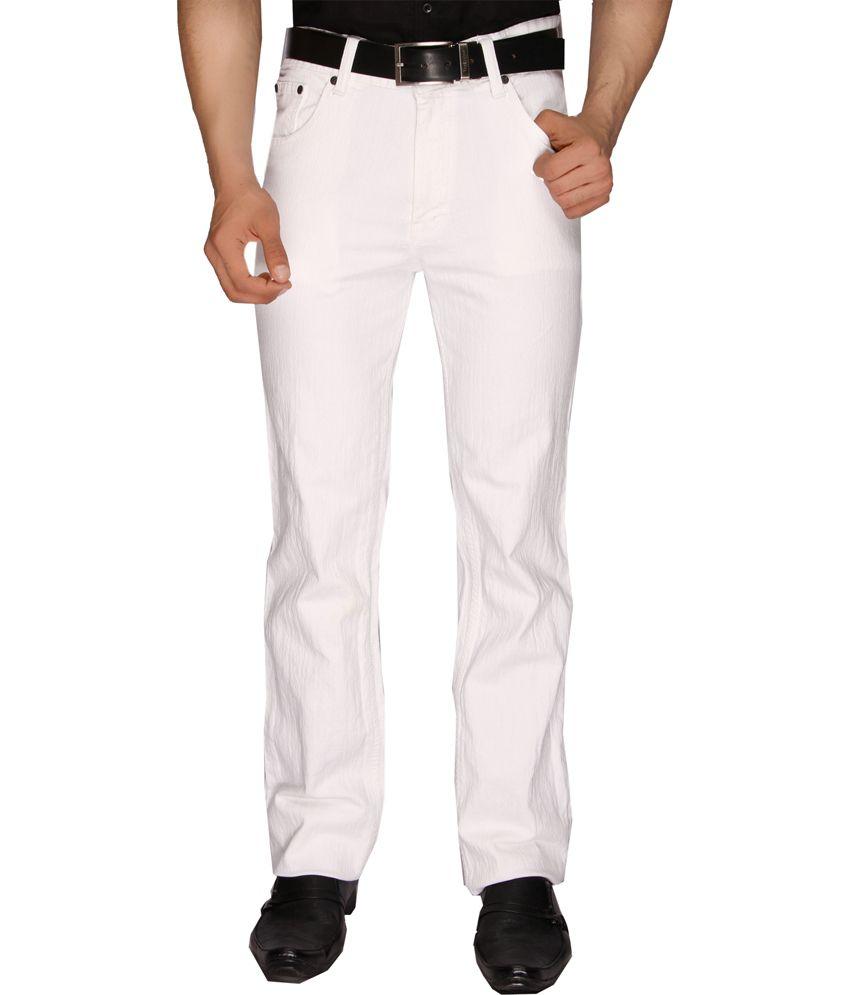 Sl Play White Cotton Regular Fit Men's Jeans