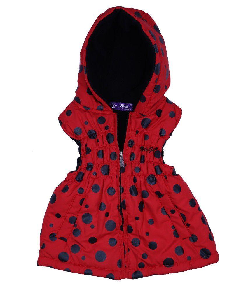Woollen Wear Sleeveless Red Color Jacket For Kids