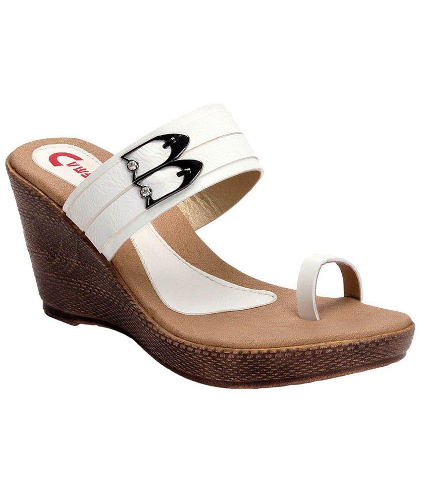 Camroose White Platforms Sandals