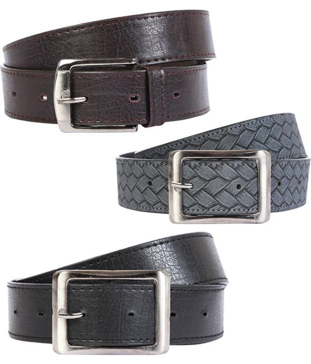 Export Fashion Black And Black Leather Belts -set Of 2