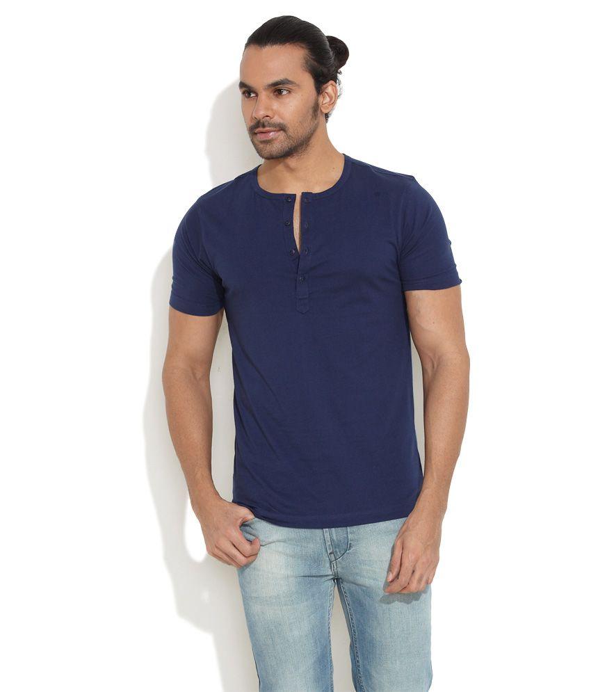Freecultr Dark Blue Easy Going Henley Shirt