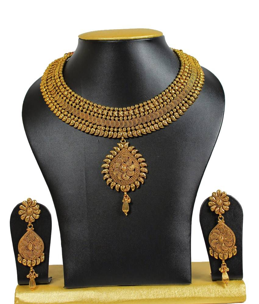 Sewad Golden Copper Antique Necklace Set