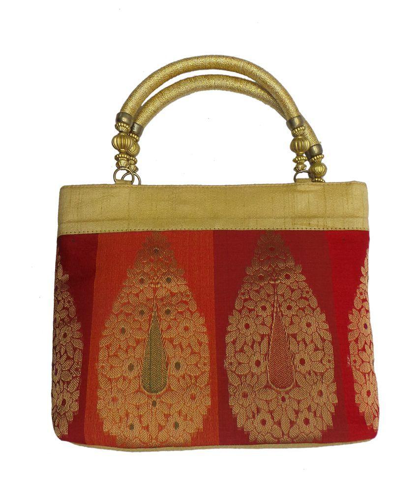 Bhamini Raw Silk Handbag With Traditional Zari Embroidery (gold)