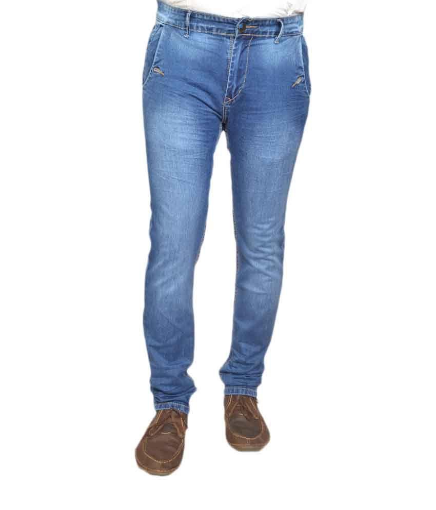 Kidnap Blue Cotton Slim Fit Jeans