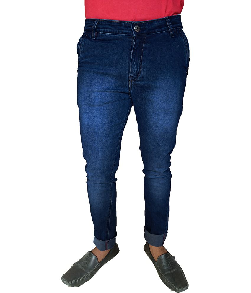 Oiin Blue Cotton Blend Slim Fit Cross Pocket Jeans