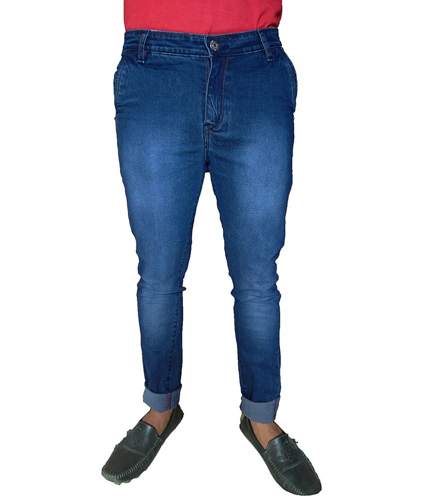 Oiin Blue Cotton Blend Slim Fit Cross Pocket Jeans