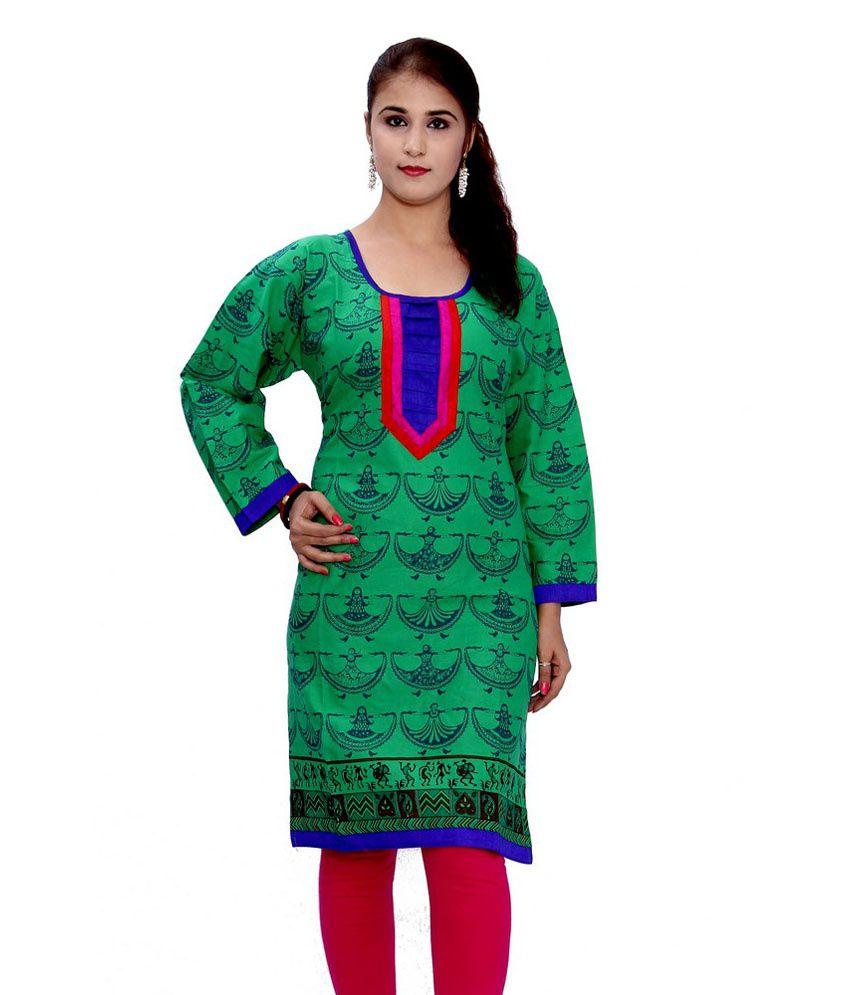 GRJ India Green Cotton Printed Long Kurti
