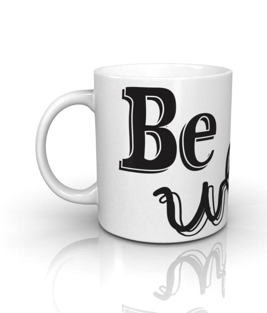 Seven Rays White Ceramic Be Weird Mug