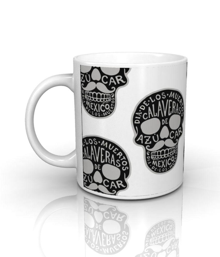 Seven Rays White Ceramic Skulls Mug