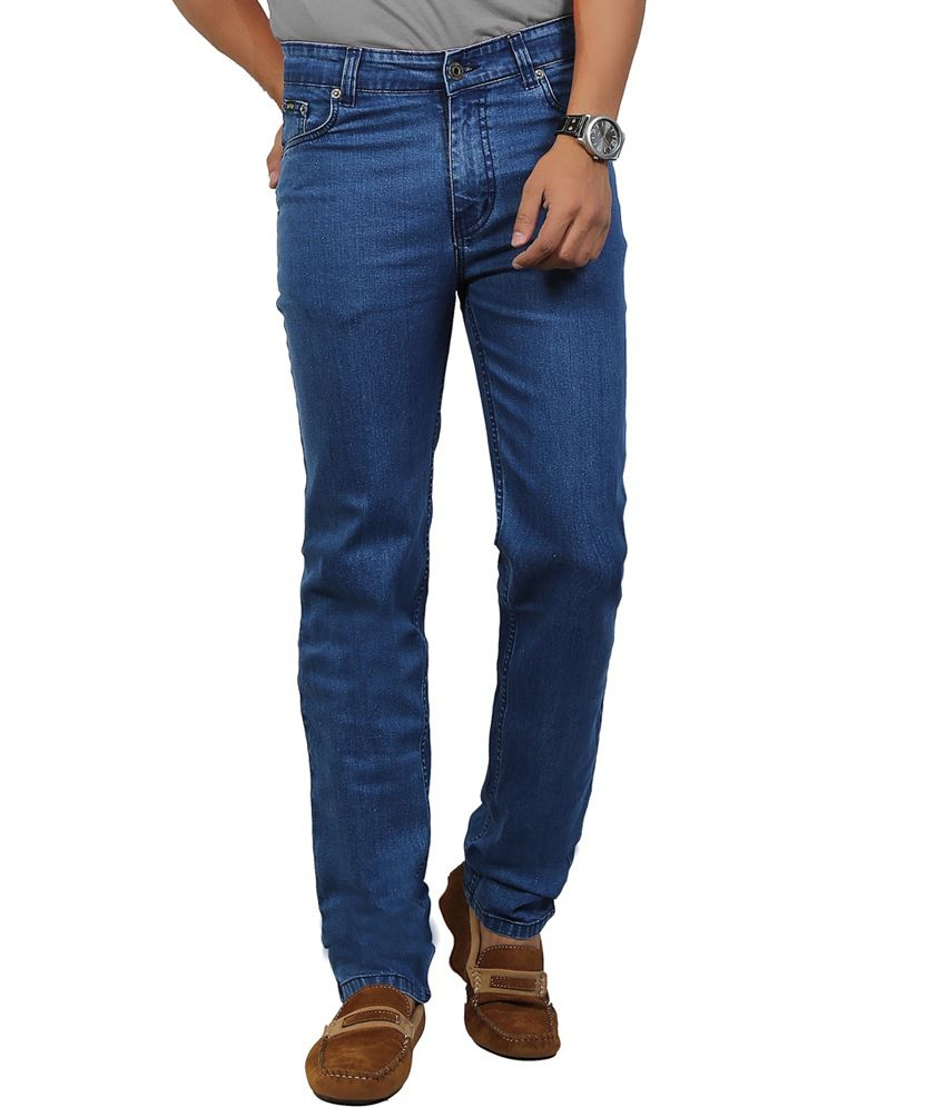 Dfu Blue Cotton Blend Regular Fit Jeans