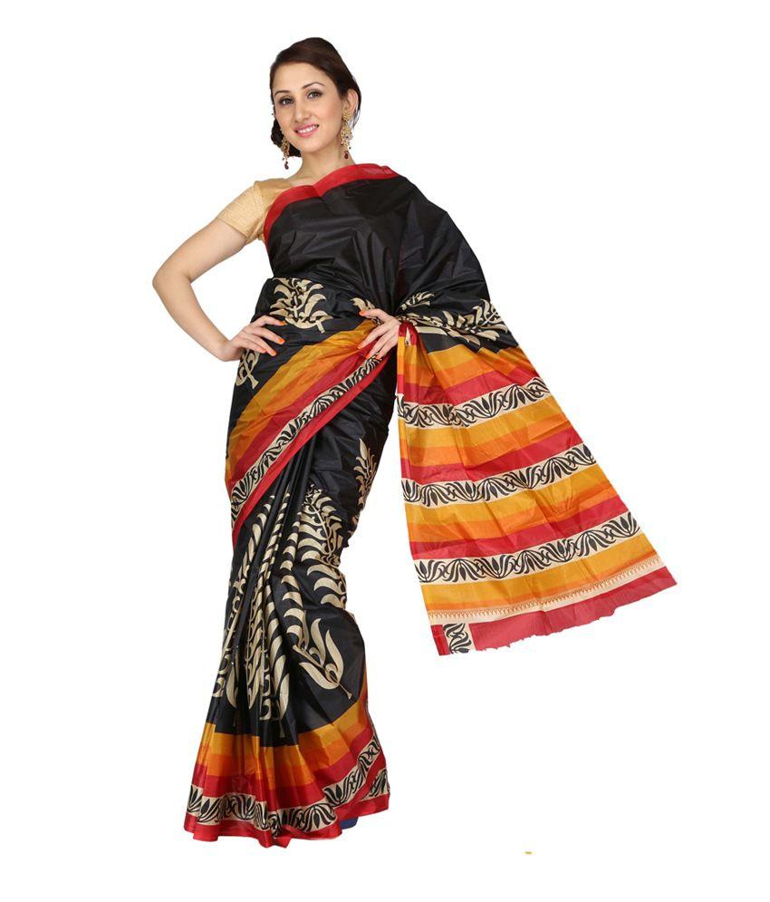2c981e8bf1a ISHIN Prints Multicoloured Art Silk Saree Price in India