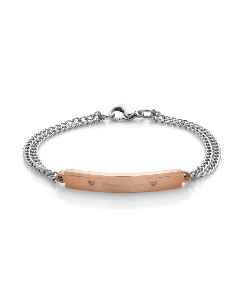Voylla Forever Love And Hearts Stainless Steel Bracelet Band