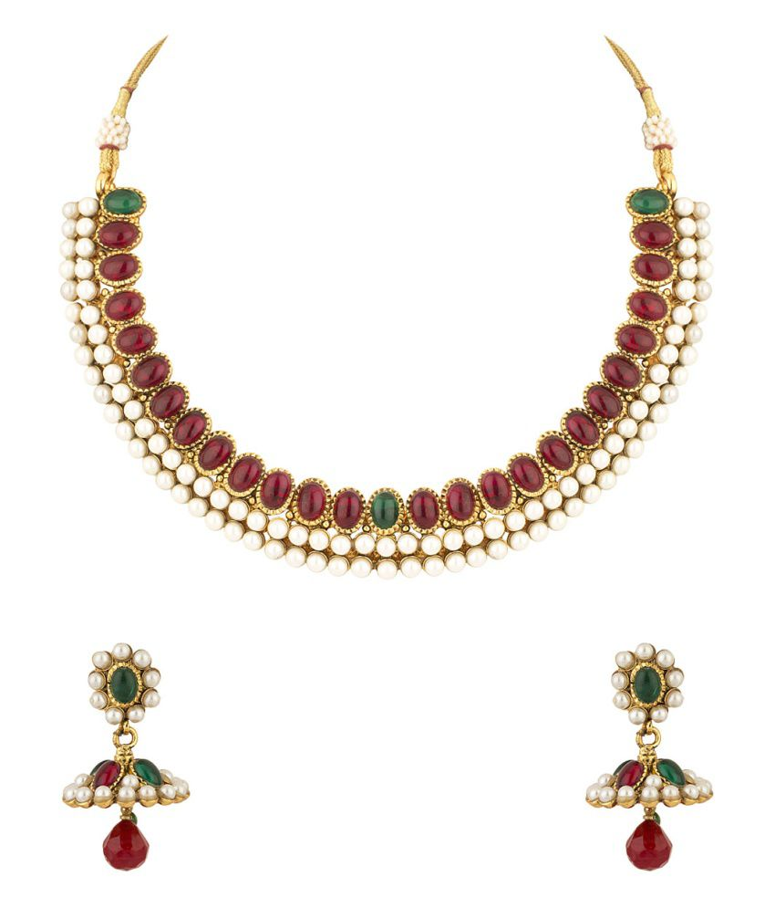 Voylla Polki Necklace Set Gold Plated Adorned With Pearls, Pink And Green Color Stones