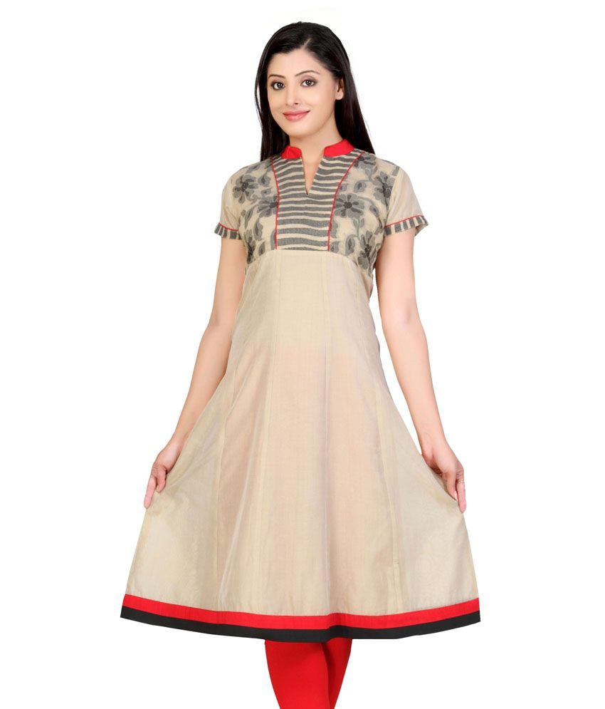 Lifestyle Retail Beige Chanderi Handcrafted Chanderi Women Anarkali Kurti
