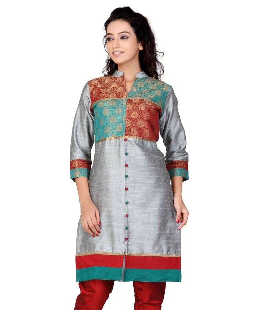 Lifestyle Retail Grey Silk Handcrafted Silk Women Kurti