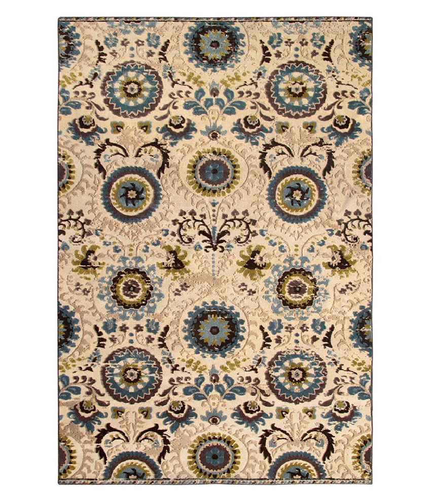 Riva Carpets Beige and Blue Traditional Rug