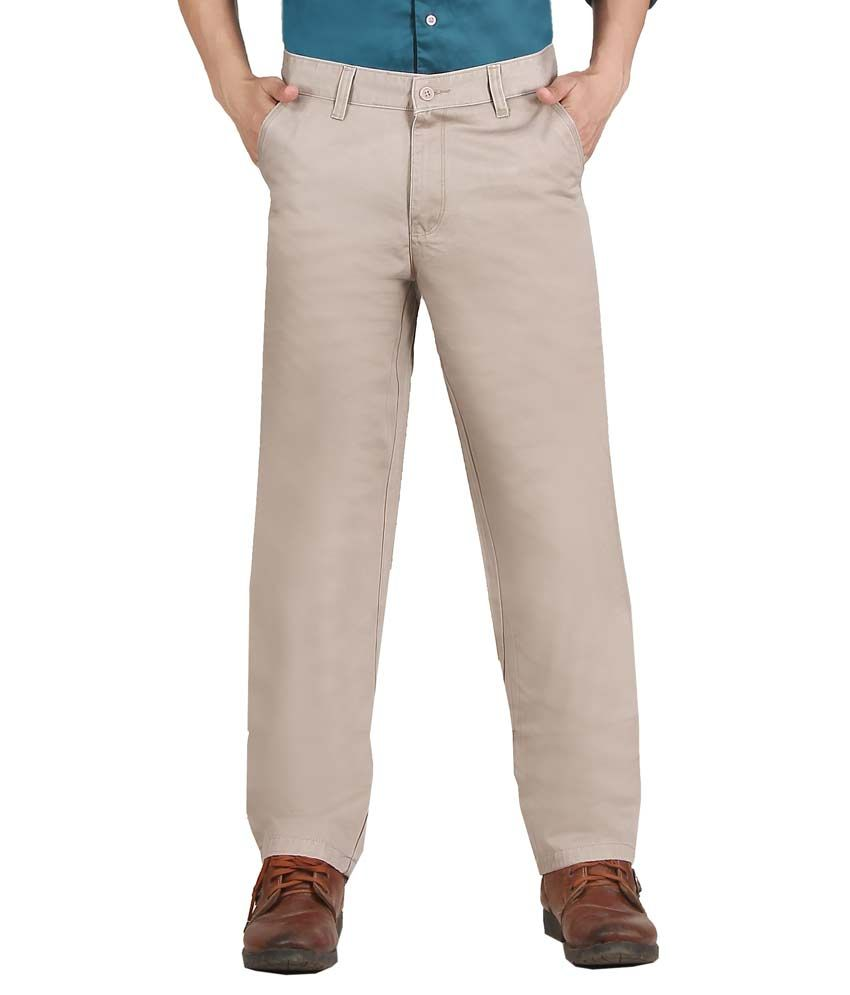 Vituda Beige Cotton Lycra Flat Semi Formal Trouser