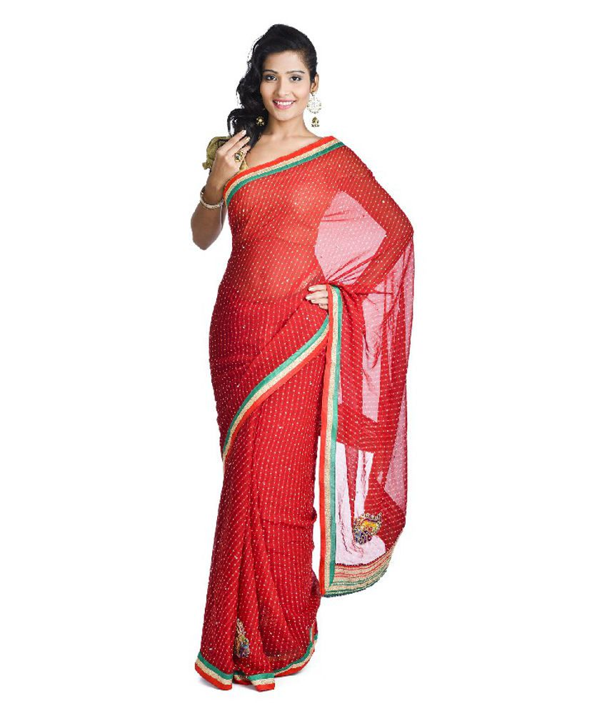 Aaditri Fashions Red Faux Georgette Saree