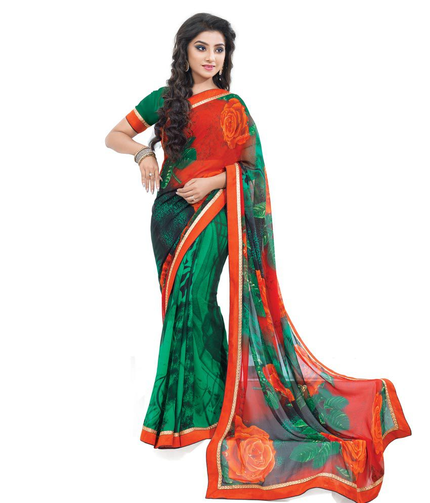 Durga Orange Border Work Pure Georgette Saree With Blouse Piece
