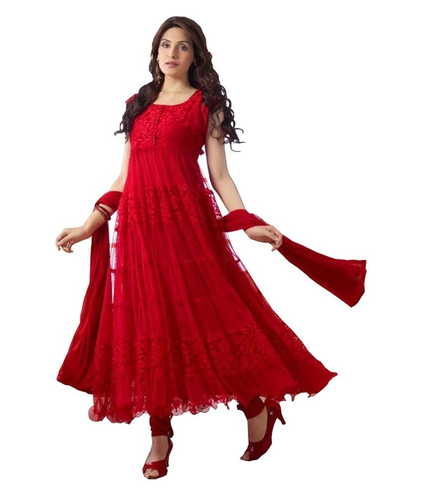 Shreeji fashion designer red hot long anarkali suit buy for To be a fashion designer