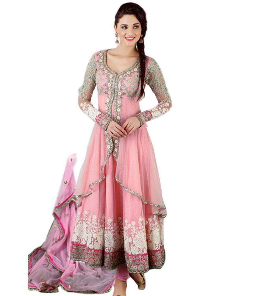 3bad2151e80 Shreeji Fashion Soft Pink and Grey Jacket Style Long Anarkali Dress Material  - Buy Shreeji Fashion Soft Pink and Grey Jacket Style Long Anarkali Dress  ...