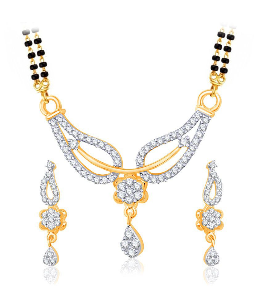 Vk Jewels Amour Gold And Rhodium Plated Mangalsutra Pendant Set With Earrings
