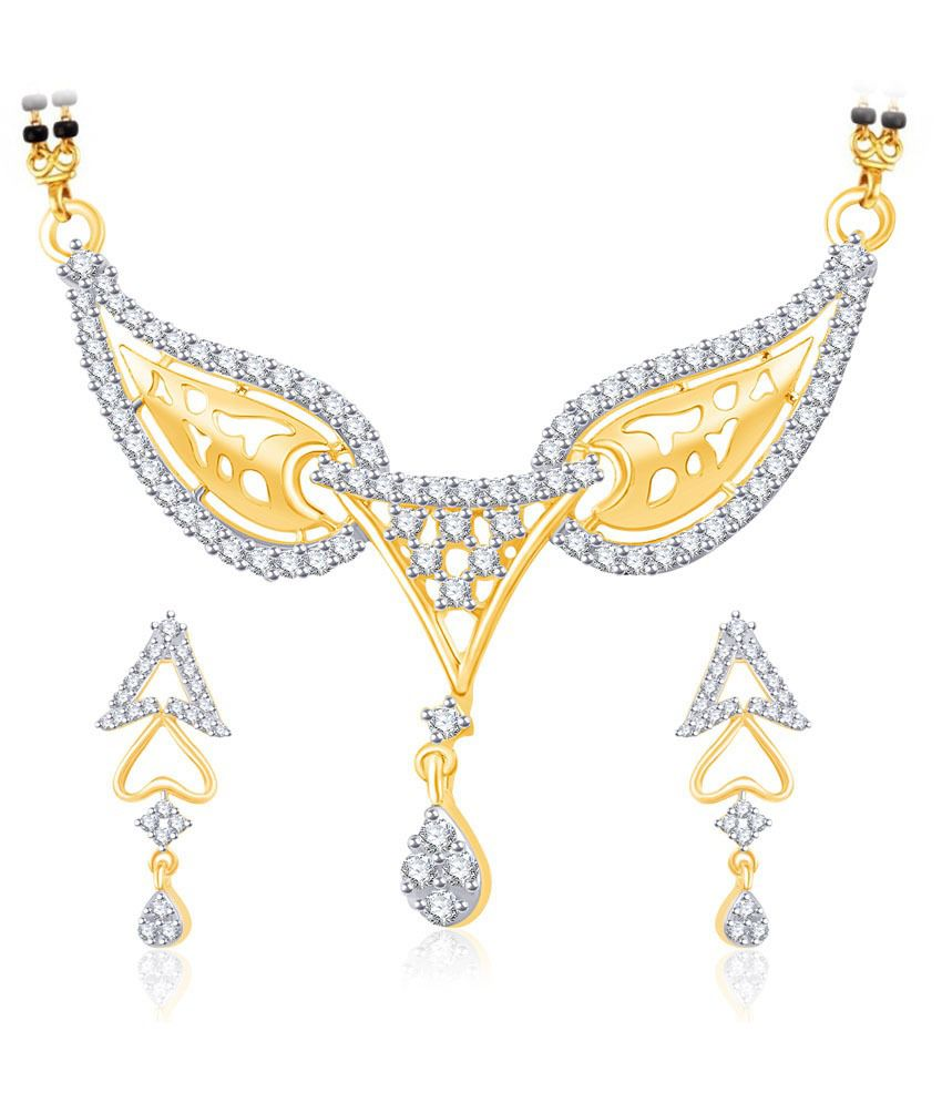 Vk Jewels Holy Token Gold And Rhodium Plated Mangalsutra Pendant Set With Earrings