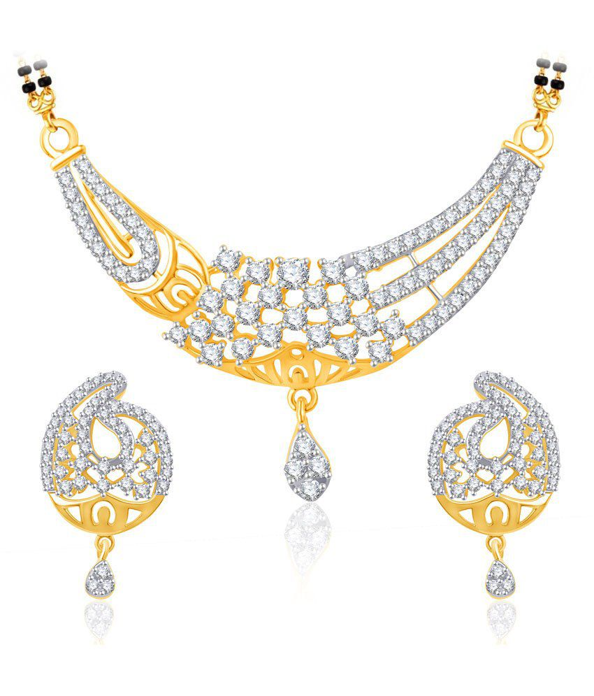 Vk Jewels Virtuous Beauty Gold And Rhodium Plated Mangalsutra Pendant Set With Earrings