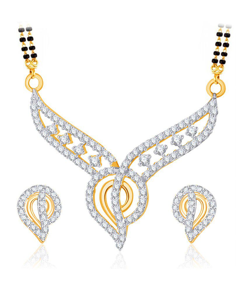 Vk Jewels Wedlock Gold And Rhodium Plated Mangalsutra Pendant Set With Earrings