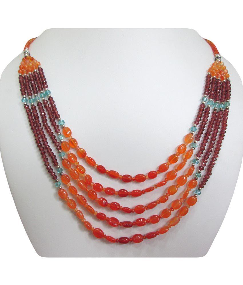 Anushruti Orange Carnelian And Red Garnet Beads Necklace