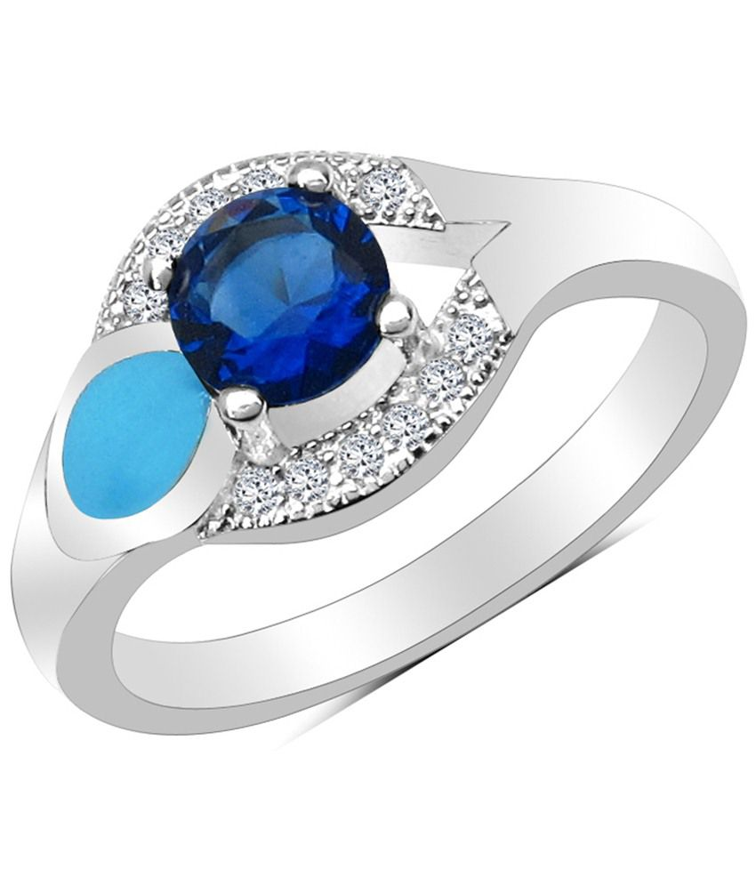 enamelour designer 925 sterling silver blue cz ring buy