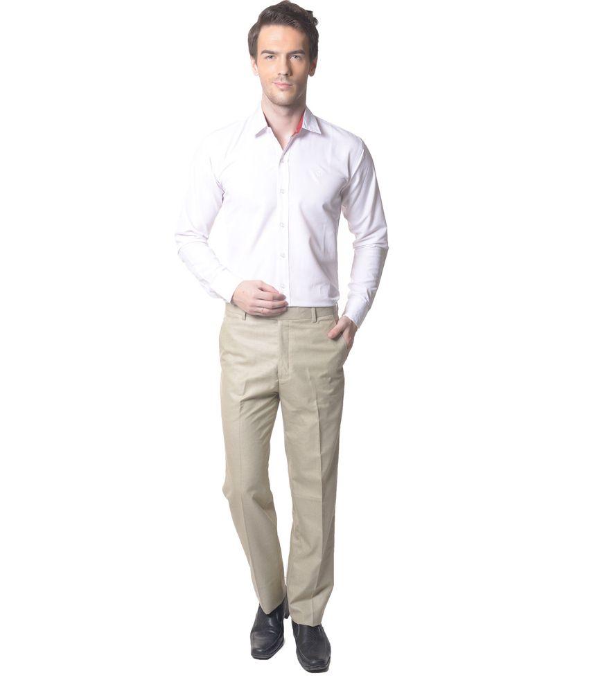 Skookie Beige Cotton Blend Flat Formal Trouser