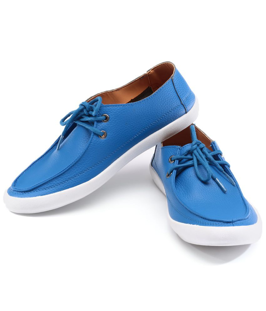 Lee Cooper White And Blue Leather Casual Shoes