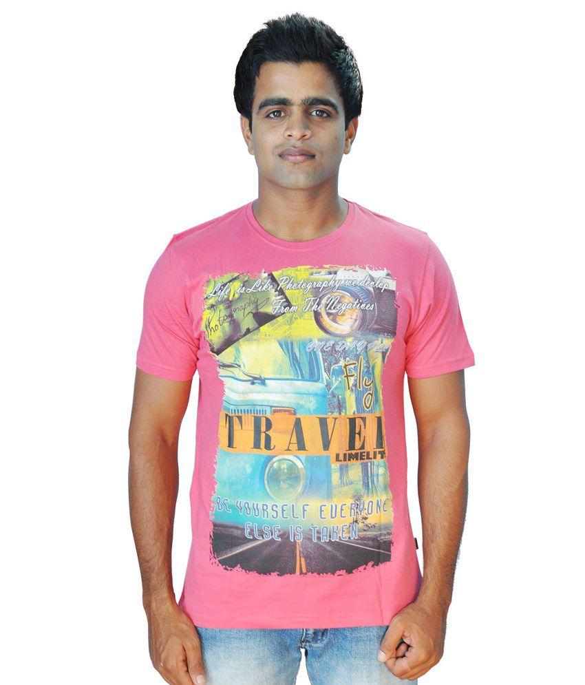 Limelite Pink Cotton Blend Half Sleeve Printed Men T Shirt
