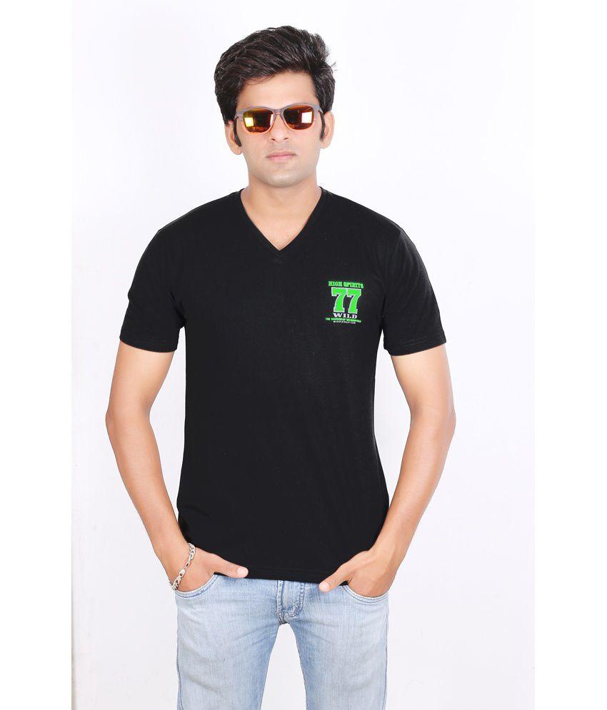 High Spirits Hd V-Neck Print Black T-Shirt-L