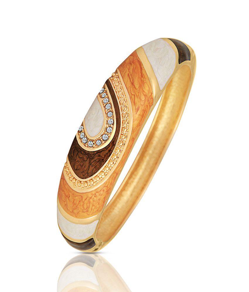Just Women Enameled Gold Plated Stone Studded Brown Bracelet