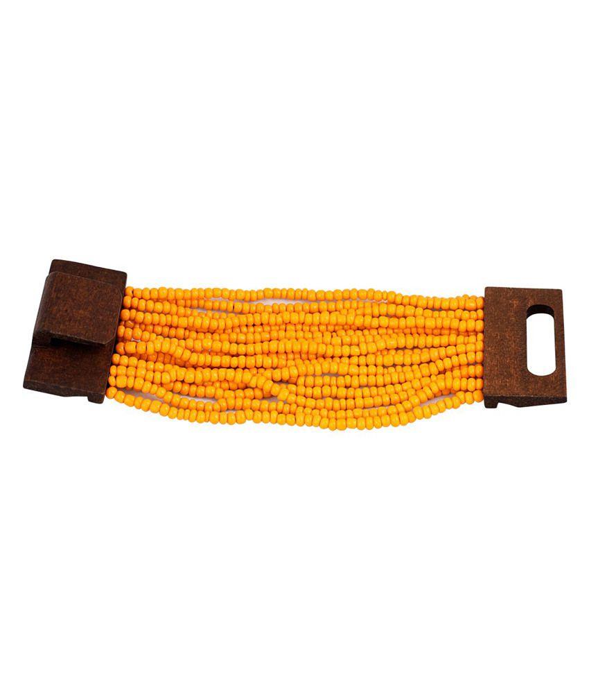 Just Women Orange Bead Bamboo Bracelet
