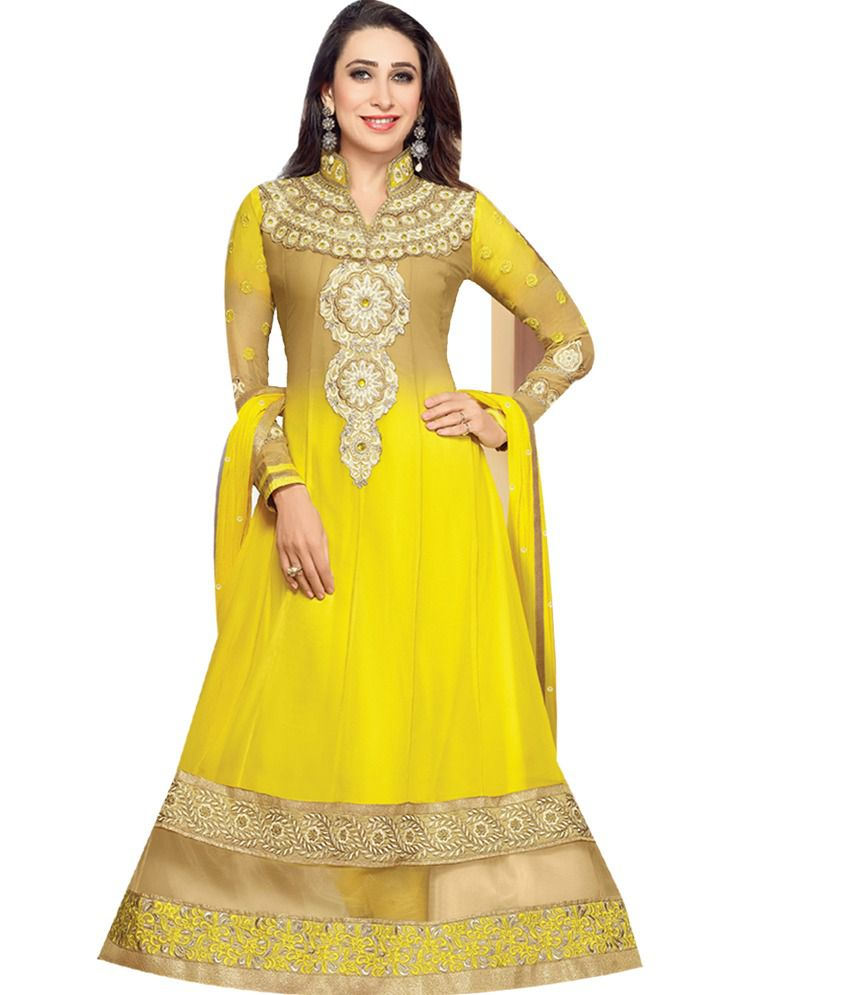 9504ada8e98a8 Kusum Designer salwar suit Yellow and Beige Georgette Unstitched Dress  Material - Buy Kusum Designer salwar suit Yellow and Beige Georgette  Unstitched Dress ...