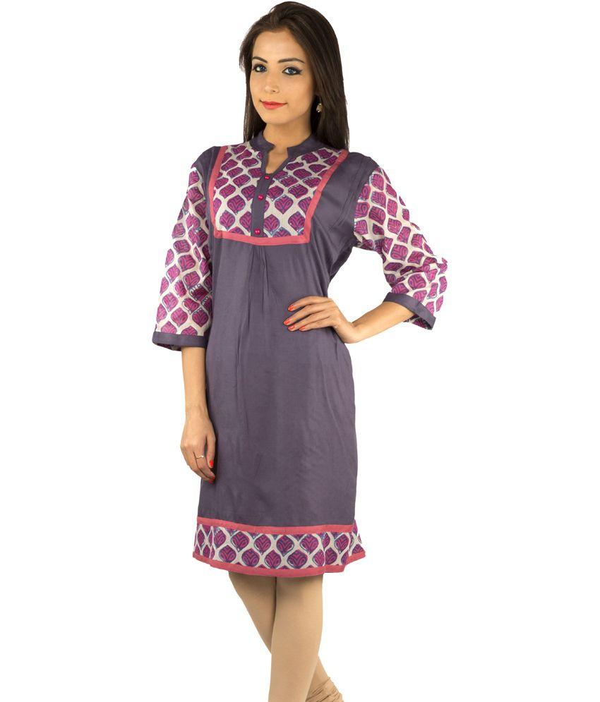 Rama Navy & Pink Printed Viscose 3/4th Sleeves Kurti